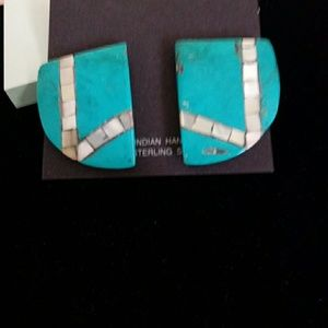 Sleeping Beauty Turq. & Abalone Inlay Earrings